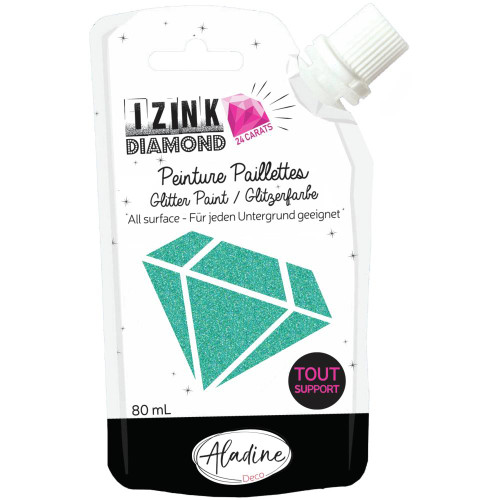 IZINK Diamond 24 Carats Glitter Paint 80ml - Turquoise