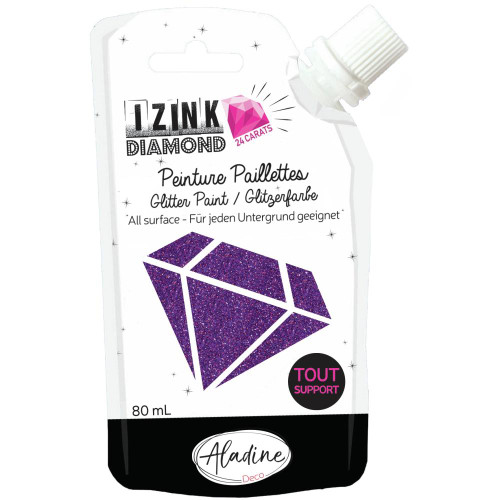 IZINK Diamond 24 Carats Glitter Paint 80ml - Purple