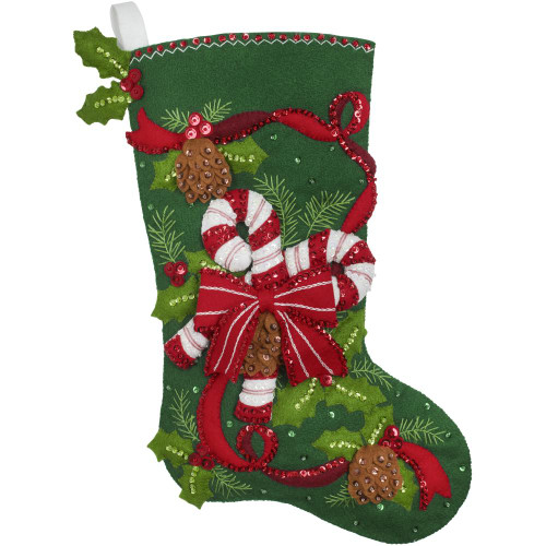 Bucilla Felt Stocking Applique Kit - Candy Canes And Ribbons