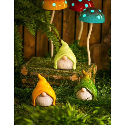 "Ceramic Small Gnome Garden Statuary, 3 Asst. 5""H"