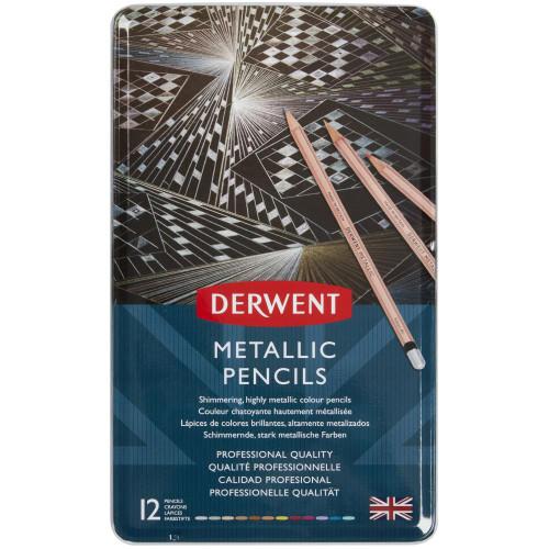 Derwent Metallic Pencils W/Tin 12/Pkg
