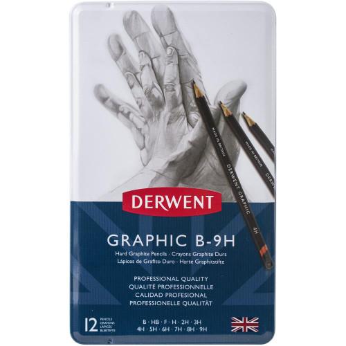 Derwent Hard Graphic Pencils W/Tin 12/Pkg