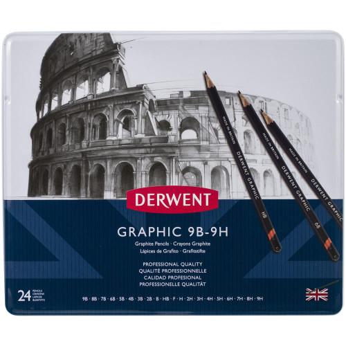 Derwent Graphite Pencils W/Tin 24/Pkg