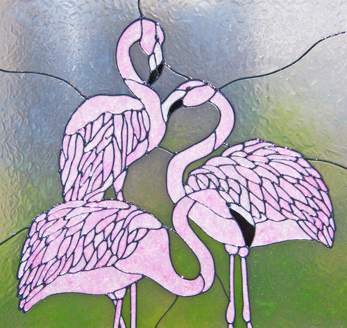 Flamingos Faux Stained Glass Window Film