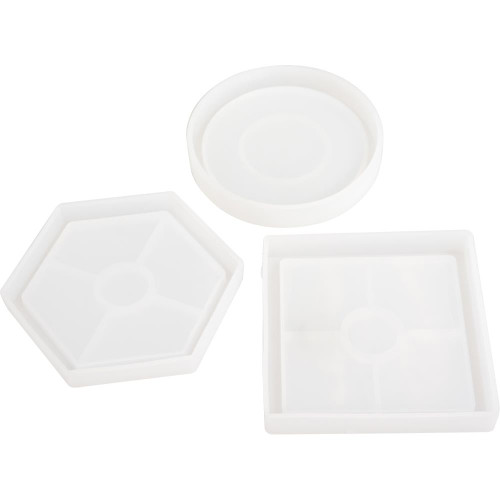 American Crafts Color Pour Resin Molds - Coaster - Circle, Square & Hexagon