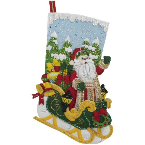 Bucilla Felt Stocking Applique Kit - Santa's Grand Sleigh
