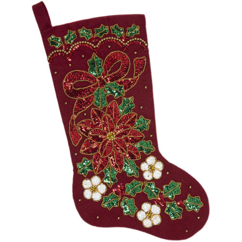 Bucilla Felt Stocking Applique Kit - Glitzy Poinsettia