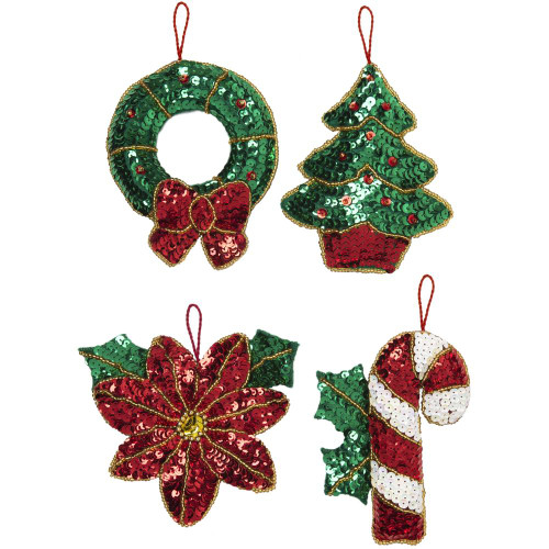 Bucilla Felt Ornaments Applique Kit - Glitzy Poinsettia