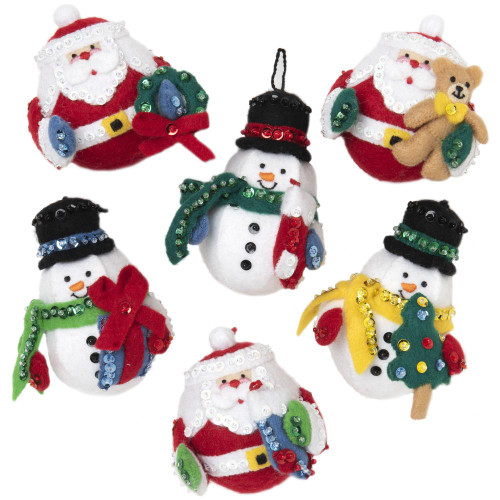 Bucilla Felt Ornaments Applique Kit - Roly Poly Christmas