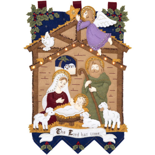 Bucilla Felt Wall Hanging Applique Kit - Away In The Manger