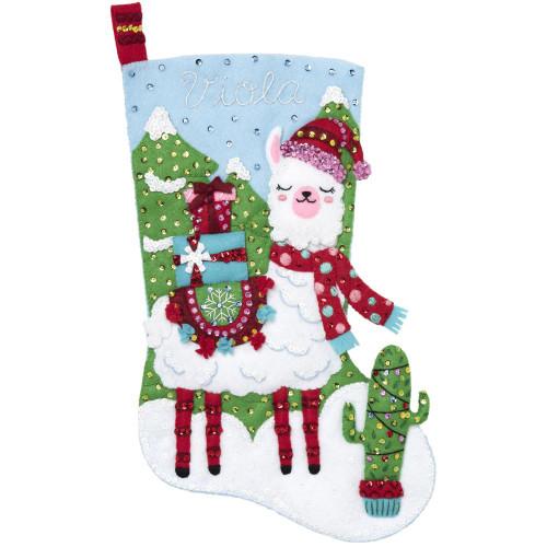 Bucilla Felt Stocking Applique Kit - Christmas Llama