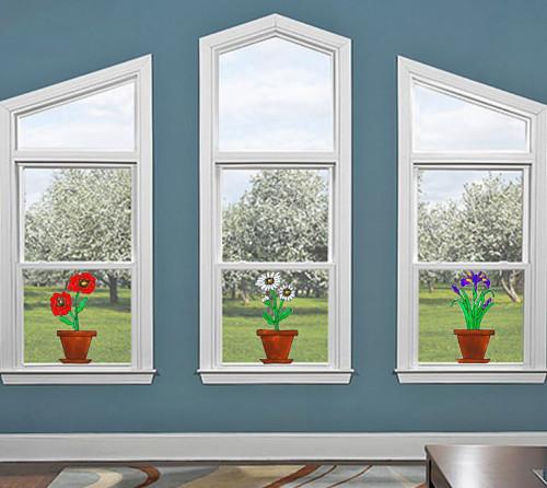 Flower Pot Window Cling Set