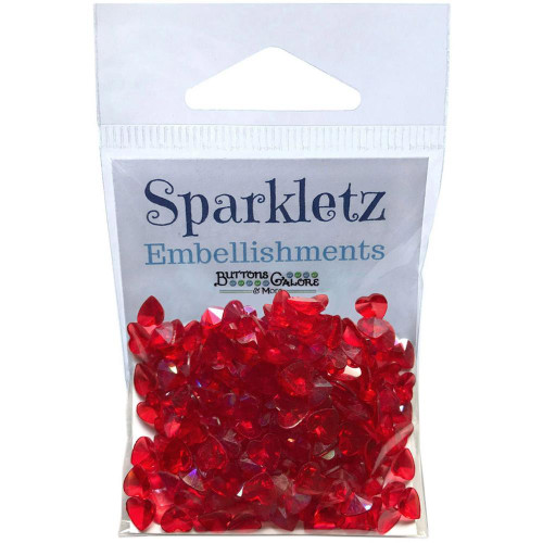 Buttons Galore Sparkletz Embellishment Pack 10g - Red Hearts