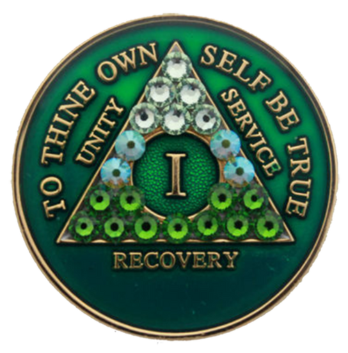 AA Tri-Plate Year Coin - Transition Crystallized Green