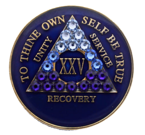 AA Tri-Plate Year Coin - Transition Crystallized Blue