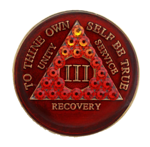 AA Tri-Plate Year Coin - Transition Crystallized Red