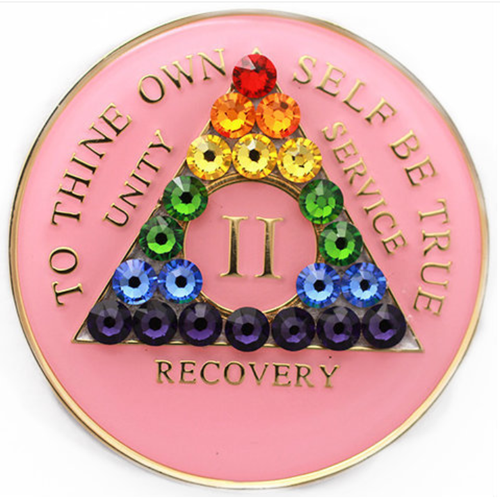 AA Tri-Plate Year Coin - Transition Crystallized Pink Rainbow
