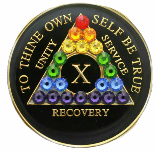 AA Tri-Plate Year Coin - Transition Crystallized Black Rainbow