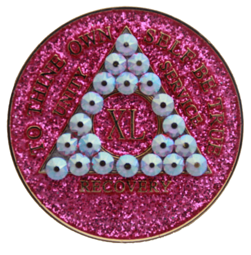 AA Tri-Plate Year Coin - Crystallized Glitter Pink Crystal AB