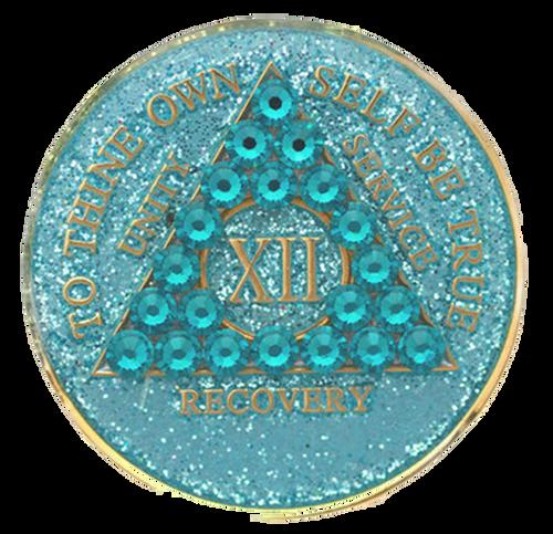 AA Tri-Plate Year Coin - Crystallized Glitter Aqua Zircon