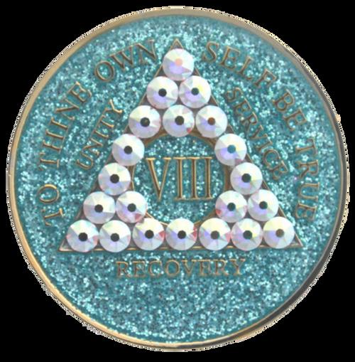 AA Tri-Plate Year Coin - Crystallized Glitter Aqua Crystal AB