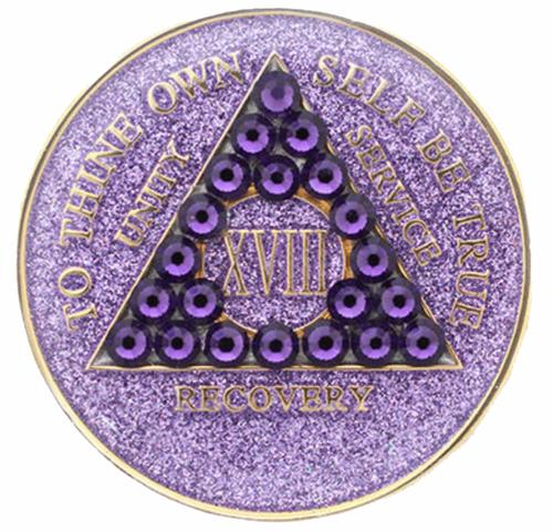 AA Tri-Plate Year Coin - Crystallized Glitter Purple Velvet