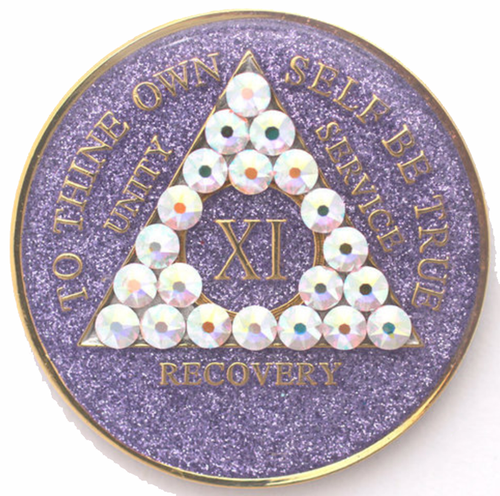 AA Tri-Plate Year Coin - Crystallized Glitter Crystal Purple AB