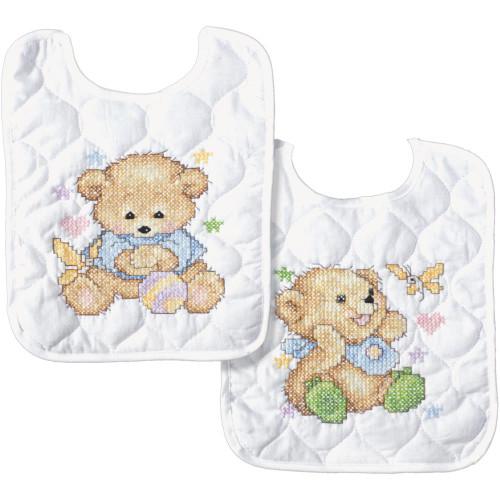 Tobin Stamped Cross Stitch Bib Pair Kit - Baby Bears