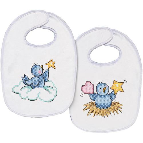 Tobin Stamped Cross Stitch Bib Pair Kit - Birdies