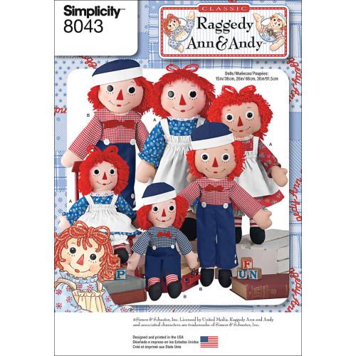 Simplicity Pattern - Raggedy Ann & Andy Dolls #8043