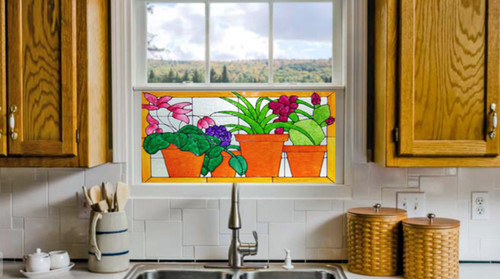 Faux Stained Glass Flower Pot Window Film