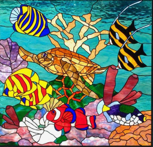 Faux Stained Glass Window Film - Underwater Ocean Scene
