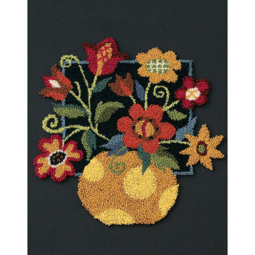 Dimensions Punch Needle Kit - Floral On Black
