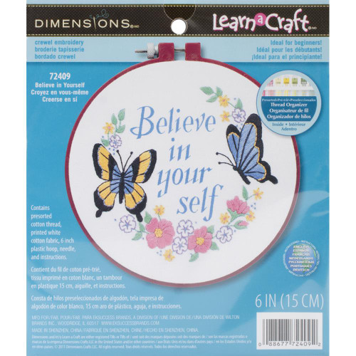 Dimensions/Learn-A-Craft Crewel Embroidery Kit - Believe In Yourself