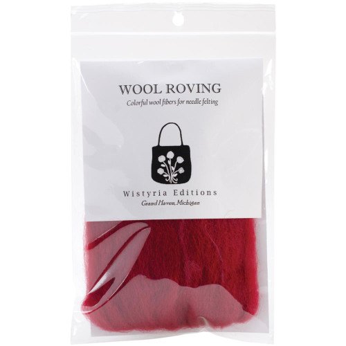 "Wistyria Editions Wool Roving 12"" .22oz - Cherry Red"