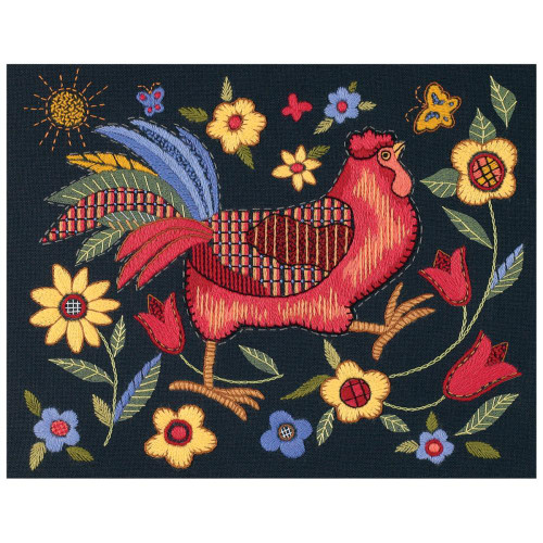 Dimensions Crewel Kit - Rooster On Black