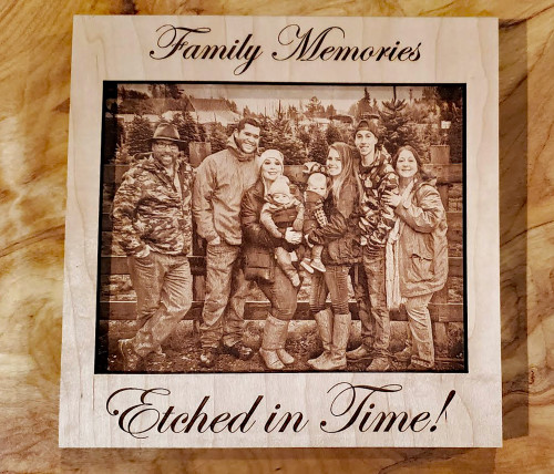 Laser Etched Interchangeable Wooden Photo & Frame - Family Memories