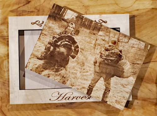 Laser Etched Interchangeable Wooden Photo Insert - Fall harvest