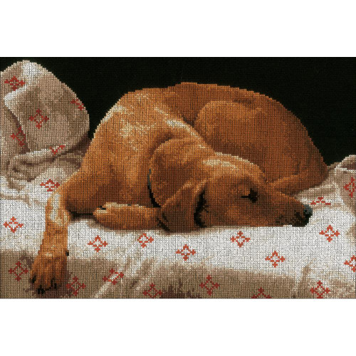 LanArte Counted Cross Stitch Kit - Sleeping Dog