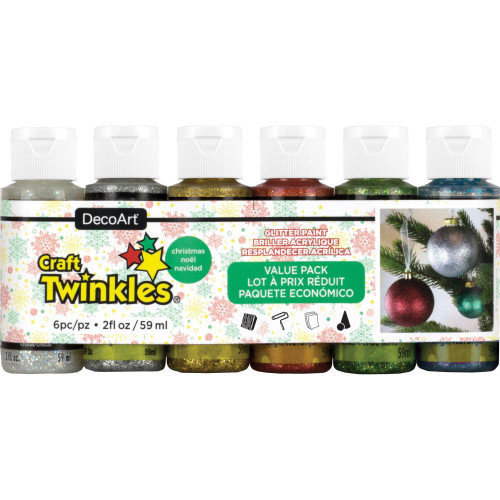DecoArt Craft Twinkles Glitter Paint Value Pack 6/Pkg
