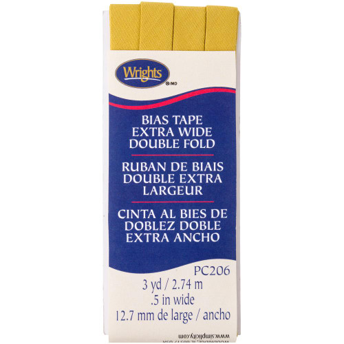 "Wrights Double Fold Bias Tape .5""X3yd - Yellow"