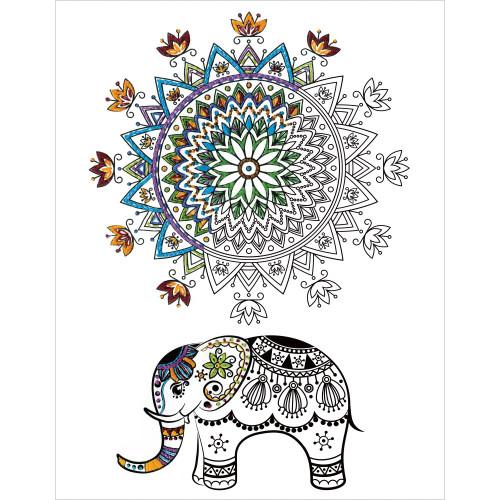 Design Works Zenbroidery Stamped Emrboidery Kit - Elephant Mandala