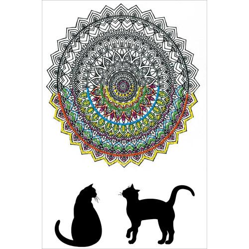 Design Works Zenbroidery Stamped Emrboidery Kit - Cat Mandala