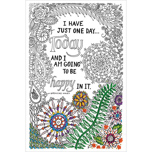 Design Works Zenbroidery Stamped Emrboidery Kit - Be Happy