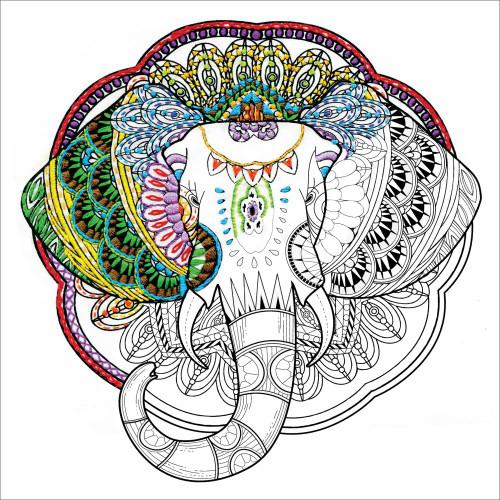 Design Works Zenbroidery Stamped Emrboidery Kit - Elephant
