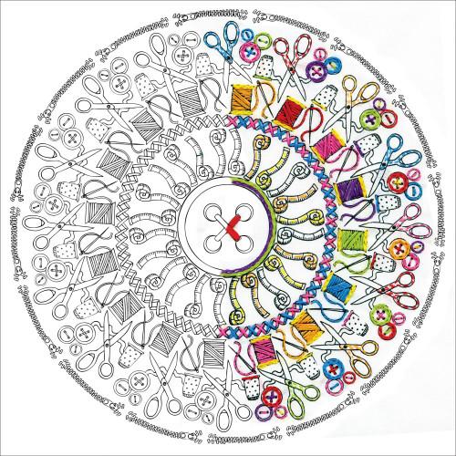 Design Works Zenbroidery Stamped Emrboidery Kit - Sewing Mandala