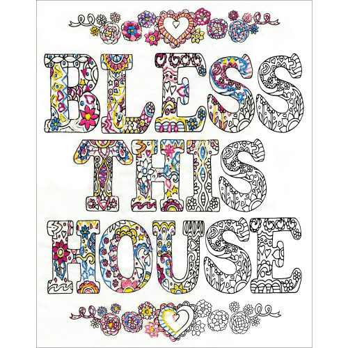 Design Works Zenbroidery Stamped Emrboidery Kit - Bless This House