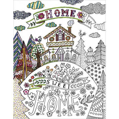 Design Works Zenbroidery Stamped Emrboidery Kit - Home Sweet Home
