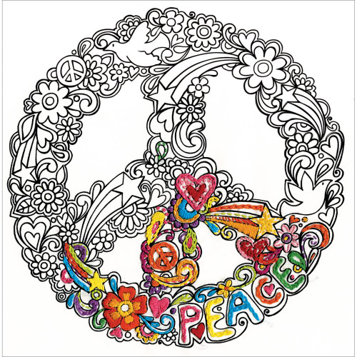 Design Works Zenbroidery Stamped Emrboidery Kit - Peace