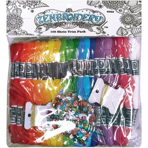 Design Works Zenbroidery Stamped Emrboidery Kit - Value Pack